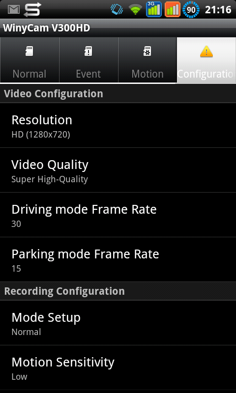 WinyCam V300 - Android Settings