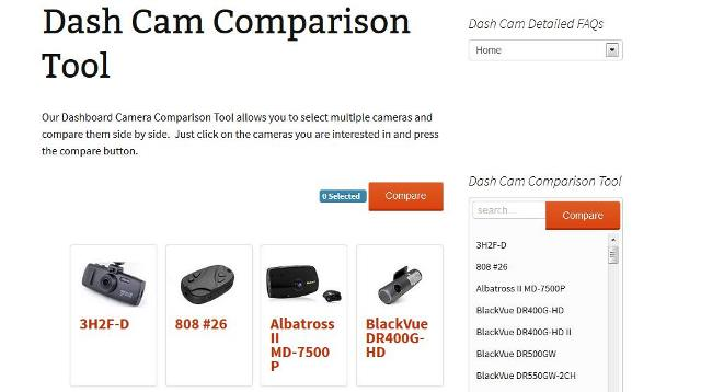 Dash Cam Comparison Tool