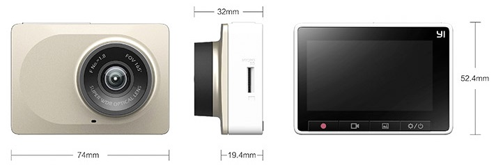 Xiaomi Yi Dash Cam Dimensions