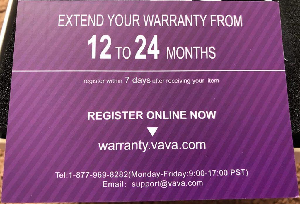 VAVA VA-VD009 Warranty